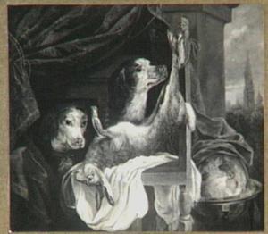 Dode haas op een stoel; rechts een globe en een doorkijk naar de stad Antwerpen