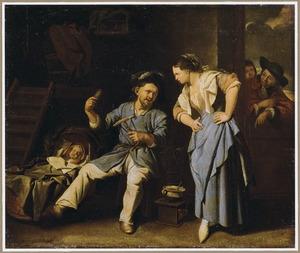 Garenwindende man met een slapende baby en een jonge vrouw in een interieur