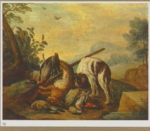Landschap met een hond bij jachtbuit en jachtgeweer