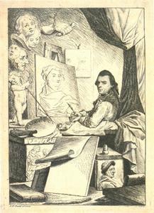 Zelfportret van Johann Gottlieb Prestel (1739-1808)