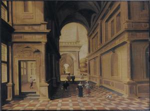 Interieur van een paleis met wandelaars en doorzicht naar buiten