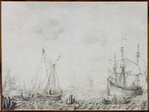 Schepen voor de kust; een galgenveld in de achtergrond