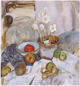 Stilleven met witte anemonen, appels en uien