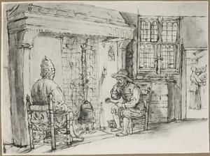 Twee mannen zittend bij een schouw met kookpot op het vuur