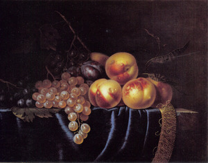 Vruchtenstilleven met perziken en druiven