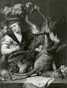 Boerenpaar met stilleven van jachtbuit, fruit, groente in een interieur