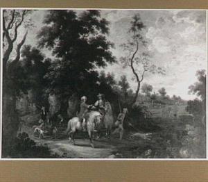 Boslandschap met jagers te paard
