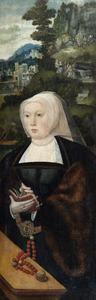 Portret van een stichster. In de achtergrond de opstanding