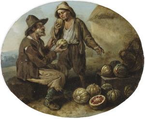 Een meloenenverkoper met een jongen