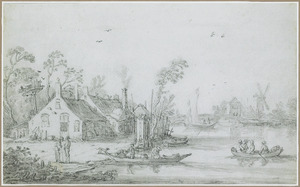 Rivierlandschap met roeibootjes en boerderijen aan de waterkant