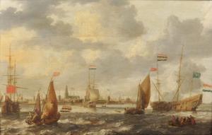 Hollandse en Engelse schepen voor een havenstad