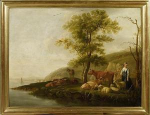 Meerlandschap met herderin, herders en dieren
