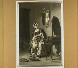 Interieur met jonge vrouw