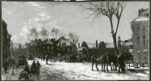 Stadsgezicht met rijtuigen en voetgangers in de winter