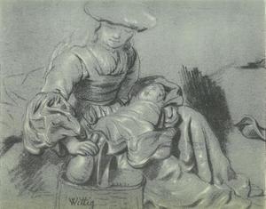Moeder met zuigeling op schoot