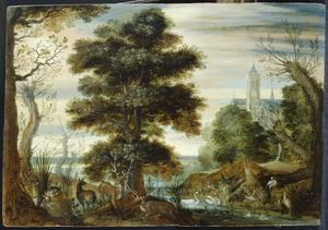 Landschap met dieren aan de rand van een waterplas