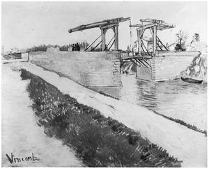 Gezicht op de langlois brug met een weg langs het kanaal
