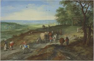 Panoramisch landschap met een huifkar en reizigers op een weg