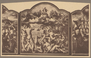 Portret van Adriaen Rockox met zijn zonen en de H. Adrianus (binnenzijde links); Het laatste oordeel (midden); Portret van Catharina van Overhoff met haar dochters en de H. Catharina (binnenzijde rechts); God de Vader, Christus met het kruis, de HH. Petrus en Paulus (buitenzijde links); Maria en de H. Margaretha (buitenzijde rechts)