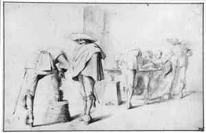 Vijf soldaten en een vrouw in een wachtlokaal