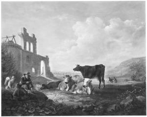 Landschap met herders en hun kudde bij een ruine