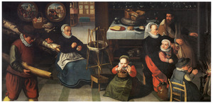 Keukeninterieur met haspelende vrouw en familie die zich bij een haardvuur warmt
