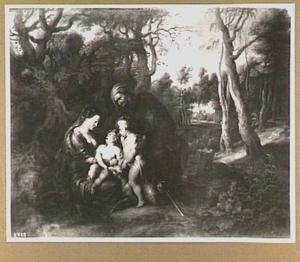 Maria met Christus, Johannes de Doper en Elizabeth in een boslandschap