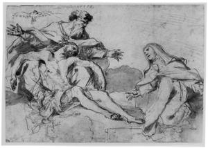 Heilige Drie-eenheid, aanbeden door vrouwelijke heilige (de heilige Theresia van Avila?)