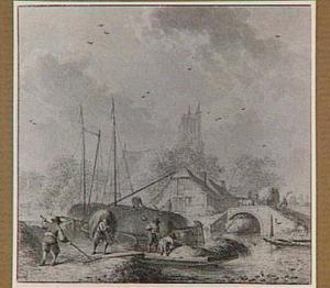 Het laden van hooi op boten; op de achtergrond een dorp met de kerktoren van Egmond aan Zee (allegorie van de Zomer)