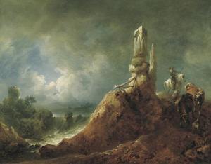 Landschap met ruïne en ruiter in het maanlicht