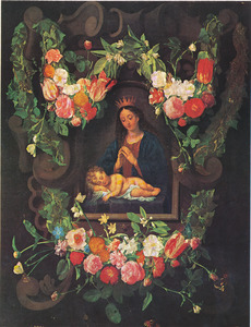 Gebeeldhouwde cartouche versierd met bloemen met een voorstelling van Maria en een slapend Christuskind