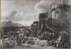 Landschap met soldatenkamp voor een ruïne, in de achtergrond de stad Rome