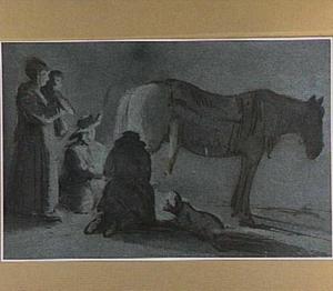 Figuren, paard en hond rond een vuur