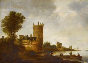 Rivierlandschap met kasteel en andere gebouwen op linkeroever