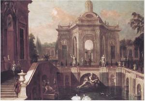 Barokke paleistuin met paviljoen en fontein met zwanen en eenden