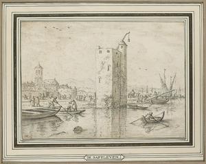Kustlandschap met toren en figuren in bootjes