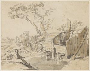 Vissers bij een vervallen houten bouwwerk