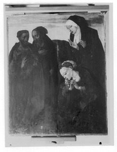 Jozef van Arimatea en Nikodemus (links), Maria Magdalena en één van de heilige vrouwen (rechts)