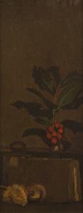 Stilleven met hulsttak, boek en strobloemen