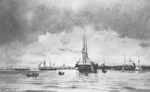 Deense en Engelse oorlogsschepen in de haven van Kopenhagen