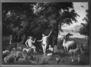 De Zondeval met Adam en Eva in het paradijs (Genesis 3:6)