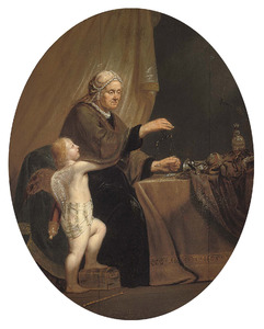 Een oude vrouw goud wegend met Cupido aan haar zij: 'Begeri[g] tot [het] Eyn[d]'