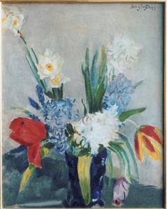Voorjaarsboeket met tulpen, narcissen en hyacinthen