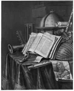 Vanitasstilleven met globe en muziekinstrumenten
