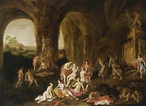 Diana en haar nimfen in een grot met klassieke beelden