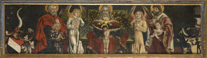 De heilige drieëenheid met de opdrachtgevers en heiligen