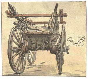 Achterkant van een vierwielige boerenwagen