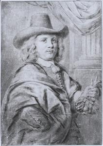 Portret van een man met handschoenen in de linkerhand