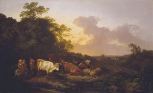 Landschap met vee en figuren met opkomende storm