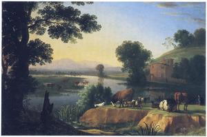 Zuidelijk landschap met grazend en rustend vee bij een rivier